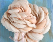 Thick and Thin Handspun Yarn Super Bulky Weight Merino Wool Knitting and Crochet Yarn Supplies peach tan