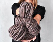 Super Bulky Grey Dark Gray Yarn Thick Handspun Chunky Big Soft Wool Yarn knitting supplies crochet supplies