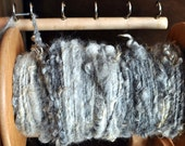 Throw Blanket Kit, Bulky Grey Yarn Fleece Un-dyed Natural Hand-spun Yarn, Kit With Needles and Pattern. Knitting