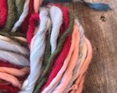 Handspun yarn, bulky, soft, wool, knitting supplies, weaving, crochet, yospun, sea green, light blue, red, moss green, mint