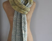 Bulky, Wrapping, Scarf, Handspun Yarn, Handknit Knit Scarf, Wool, Soft, Green, Blue, Yospun