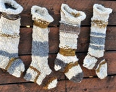 A family of Christmas Stockings, Holiday, Handknit, Long, Big, Wild, Whimsical, Holiday, Handspun Yarn, Colorado, Made to Order