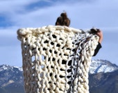 Big Chunky Buly Knit Wool Blanket Throw Natural Color White Cream Brown Black