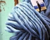 Yarn, Handspun, Bulky, Thick n Thin, Light Blue, Wool, Knitting, Crochet Supplies, Yospun, soft, warm, weaving, big knitting