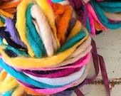 Handspun yarn, bulky, soft, wool, knitting supplies, weaving, crochet, yospun, teal, navy, orange, light blue, cream