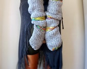 Long Bulky Hand Knit Mittens, Soft, Wool, Winter