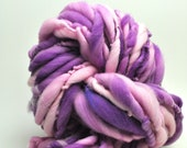 Handspun, Hand dyed, Yarn, Purple, Pink, White, Thick and Thin, Big, Bulky, Wool, Yarn, Yospun, Knitting, Crochet