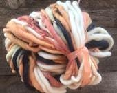 Handspun yarn, bulky, soft, wool, knitting supplies, weaving, crochet, yospun, Thick n Thin, Cream, Navy, Peach, Sage Green