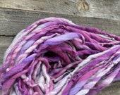 Handspun yarn, pretty, bulky, soft, wool, knitting supplies, weaving, crochet, Thick n Thin, Berry Pink and Cream, Buttery Soft BFL