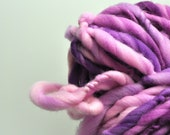 Handspun, Hand dyed, Yarn, Pink, Purple, Fuchsia, Thick and Thin, Big, Bulky, Wool, Yarn, Yospun, Knitting, Crochet