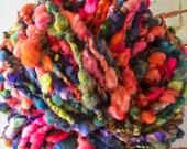 Handspun yarn, bulky, soft, wool, knitting supplies, weaving, crochet, yospun, red, peach, green, blue