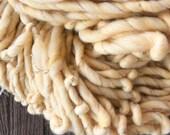 Handspun yarn, bulky, soft, wool, knitting supplies, weaving, crochet, yospun, soft yellow, gold