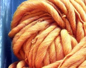 Hand spun yarn, Big, Super Bulky, Orange, Soft, Chunky, warm, art yarn, wool, Knitting Supplies, Crochet Supplies, weaving, handmade
