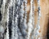 Super Bulky Art Yarn Cream White Black Natural thick n thin wool silk Gold warm soft knitting supplies crochet supplies