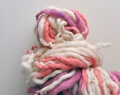 Handspun, Hand-spun, Hand dyed, Yarn, Pink, White, Cream, Peach, Thick and Thin, Bulky, Wool, Yarn, Yospun, Knitting, Crochet