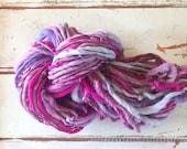 Handspun yarn, thick n thin, purple, pink, lavender, bulky, soft, wool, knitting supplies, weaving, crochet, yospun
