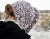 Bonnet, Knit, Big, Bulky, Handknit, Wool, Warm, Custom Made, Colorado