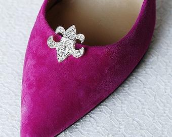 Bridal Shoe Clips Crystal Rhinestone Shoe Clips Fleur de lis Wedding Party (Set of 2) FREE Combine Shipping US SC059LX