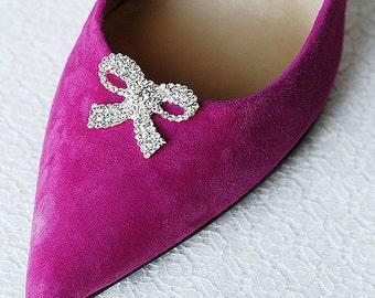Bridal Shoe Clips Crystal Rhinestone Shoe Clips Ribbon Bow Wedding Party (Set of 2) FREE Combine Shipping US SC056LX