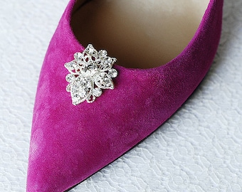 Bridal Shoe Clips Crystal Rhinestone Shoe Clips Wedding Party (Set of 2) FREE Combine Shipping US SC058LX