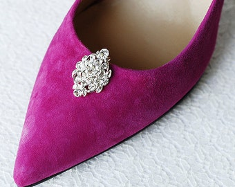 Bridal Shoe Clips Crystal Rhinestone Shoe Clips Wedding Party (Set of 2) FREE Combine Shipping US SC057LX