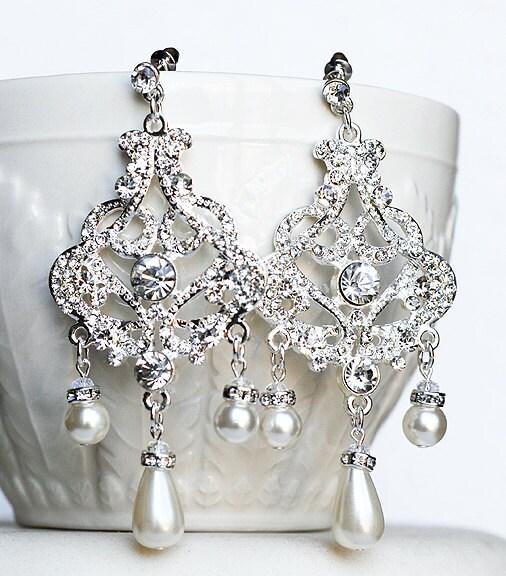 Bridal Earring Wedding Earring Rhinestone Chandelier Earrings | Etsy