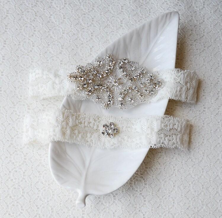 Personalized Wedding Garter Sets: Wedding Garter Bridal Garter Set Ivory Lace Garter Belt