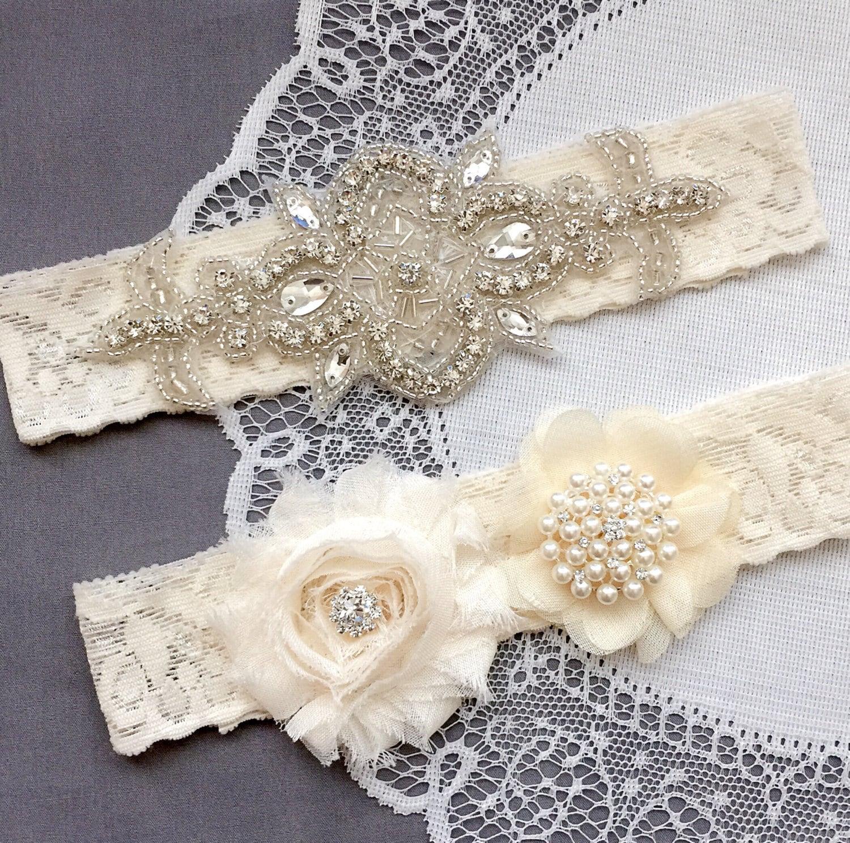 Ivory Garter with Rose Center Wedding Garter