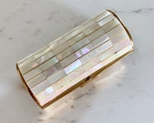 Mid Century RONSON Cigarette Lipstick Case, Mother of Pearl Gold Trinket Stash Box, Ladies MCM Vanity Essential , Ronson Collectible