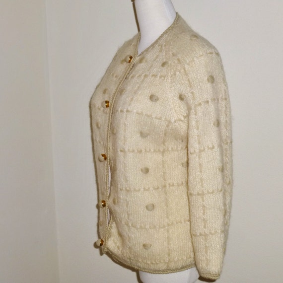 1950's Italian Wool Hand Knitted Cardigan Sweater