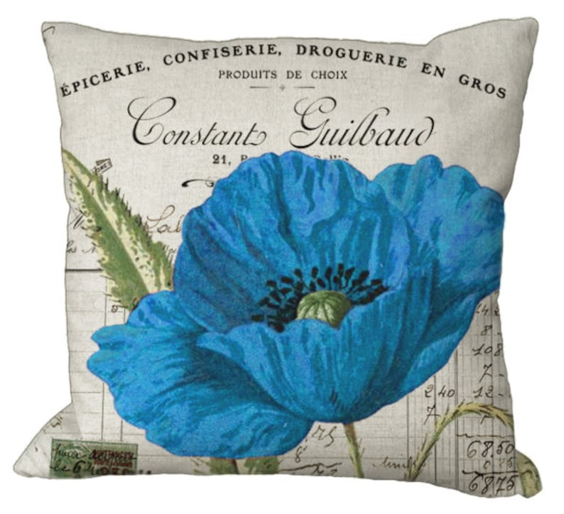 Blue or Teal Poppy on invoice in Choice of 14x14 16x16 18x18 20x20 22x22  24x24 26x26 inch Pillow Cover