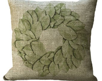 Magnolia Leaf Wreath in Choice of 14x14 16x16 18x18 20x20 22x22 24x24 26x26 inch Pillow Cover