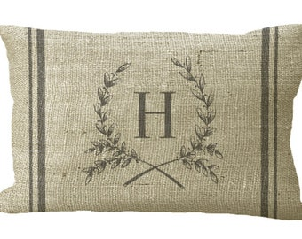 Oblong Custom Monogram Wreath with Double Grainsack Stripe in Choice of 18x12 20x13 22x12 24x16 33x14Inch Pillow Cover