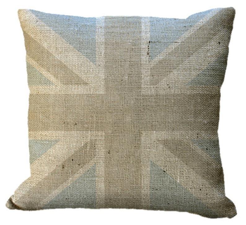 Burlap Custom Monogram Union Jack Blue /& Natural Pillow Cover in Choice of 14x14 16x16 18x18 20x20 22x22 24x24 26x26 18x12 20x13 24x16 inch