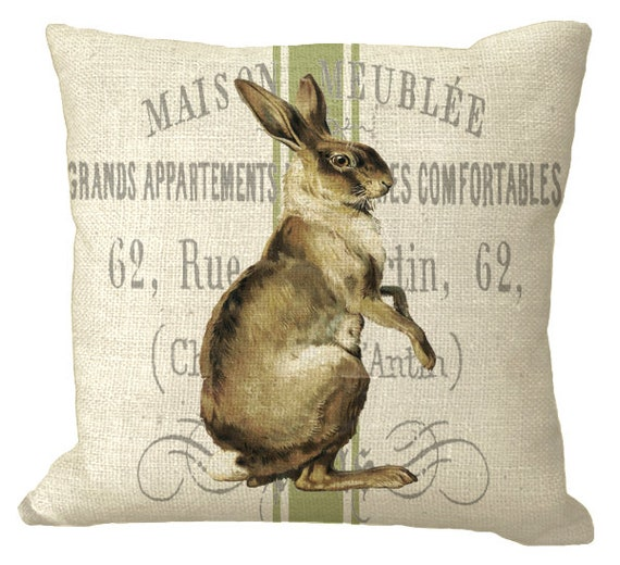 French Rabbit On Dusty Green Grain Sack Pillow Cover In Choice Etsy
