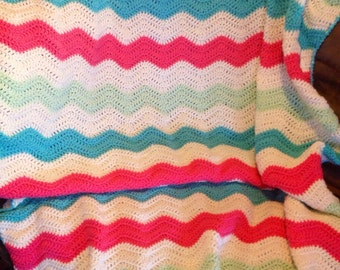Chevron blanket - Crochet blanket - Ripple Blanket - Crochet throw - Couch throw - lap blanket - free shipping