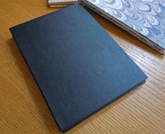 6x8 Black Leather Double Length Bfk Accordion Sketchbook Or Guest Book With A Deckle Edge