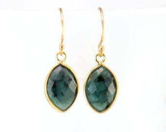 Raw Emerald Earrings, May Birthstone Earrings, Small Drop Earrings, Marquise Earring, Bridesmaid Gift, Birthday Gift, Gemstone Earrings