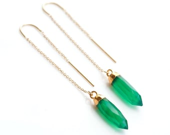 Green Onyx Earrings, Gold Spike Ear Threaders, 14k Gold Filled Minimalist Earrings, Statement Jewelry, Gift for Her, Birthday Gift, TH-B