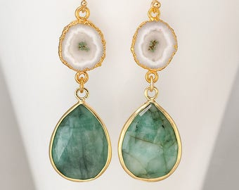 Raw Emerald Earrings - Solar Quartz earrings - Two Tier Stone earrings - Gold Earrings - Long Drop earrings