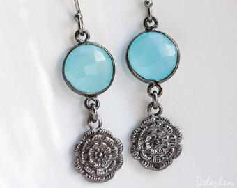 Aqua Blue Chalcedony Earrings - Oxidized Silver Earrings - Flower Charm Earrings - Dangle Earrings - Black Silver Earrings