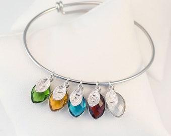 Grandmother Family Tree Bangle, Personalized Birthstone Charm Bangle, Mothers Initial Bracelet, Adjustable Bangle, Nana Gift, BFF Gifts