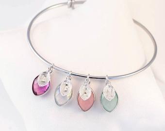 Birthstone Charm Bangle, Custom Stamped Initial, Silver Bangle Bracelet, Family Bracelet for Mom, Mothers Day Gift for Grandma, Special Gift