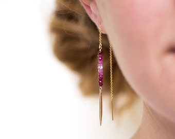 Ombre Ruby Earrings, Beaded Drop Earrings, July Birthstone Gift, Gemstone Bar Threaders, Gold Thread Through Earrings, Needle Ear Threaders