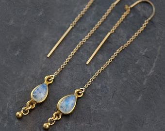 Rainbow Moonstone Earrings - Ear Thread Earrings - Ear Threader Earrings - Minimal earrings - Long Thin modern earrings