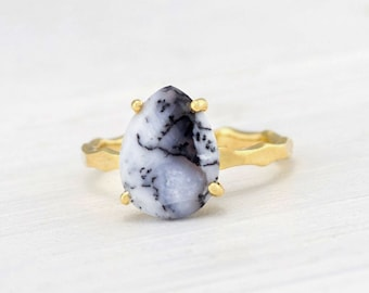 Dendrite Opal Ring, Solitaire Rings, Marble Gem, October Birthstone Gift, Black and White Gemstone, Prong Set Ring, Everyday Jewelry, RG-PP