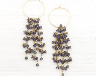 Beaded Iolite Earrings, Boho Chic Hoop Earrings, Tassel Statement Earrings, Wedding Earrings, Something Blue, Bridesmaid Gifts, HP-TS