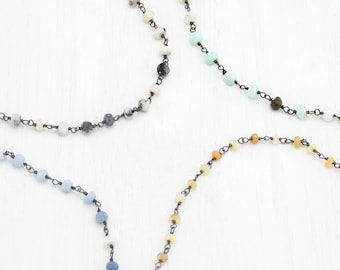 Opal Beaded Choker, Black Silver Chain, Oxidized Silver Choker, Rosary Chain Necklace, Edgy Choker, Natural Ethiopian Opal Layering Necklace