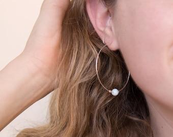 Crystal Hoop Earrings, Genuine Gemstone Hoops, Delicate Sterling Silver Hoops, Planet Earrings, Solar System, Funky Hoops, Rose Gold, HP-CB