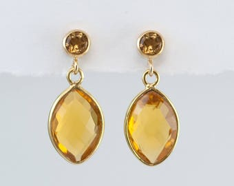 Citrine Earrings - November Birthstone Earrings - Gold Citrine Earrings - Small Drop Earrings - Post Earrings - Green Earrings